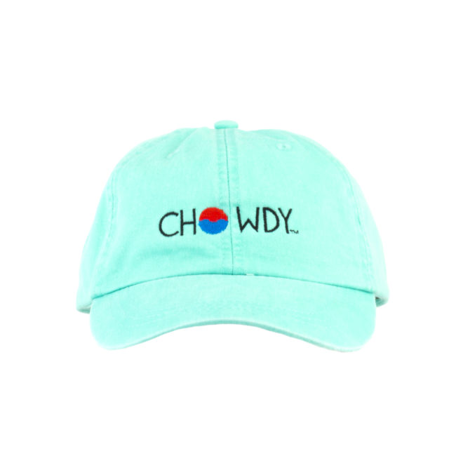 Sea glass Hat Front with Chowdy logo