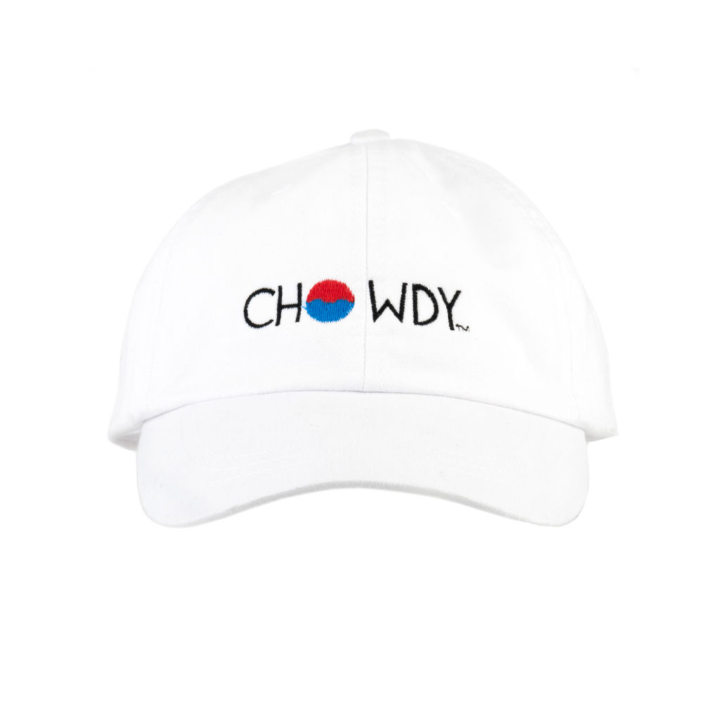 Whiteout Hat Front with Chowdy logo